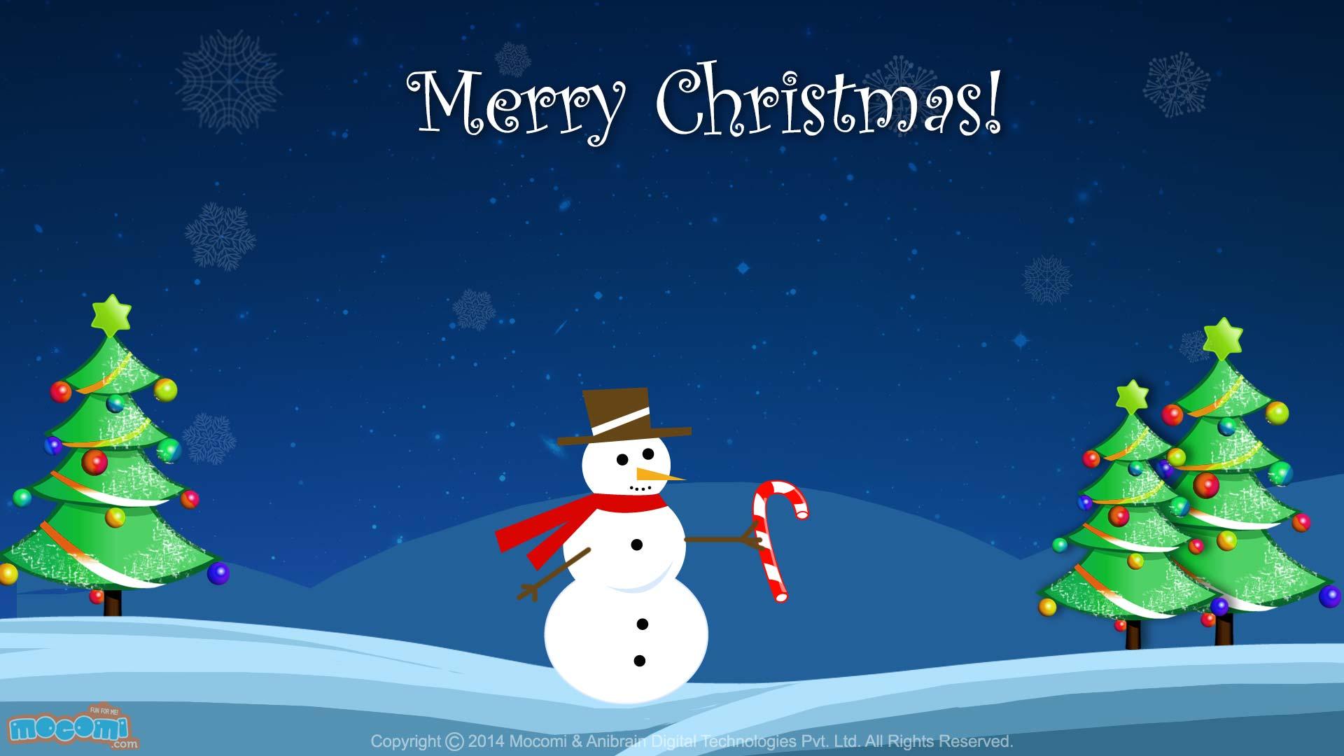 Christmas Snowman   Desktop Wallpapers for Kids Mocomi 1920x1080