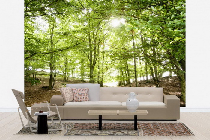 Modern Living Room With Forest Wall Mural Scenery Of Forest Wall Mural.  Forest Wallpaper For Part 83
