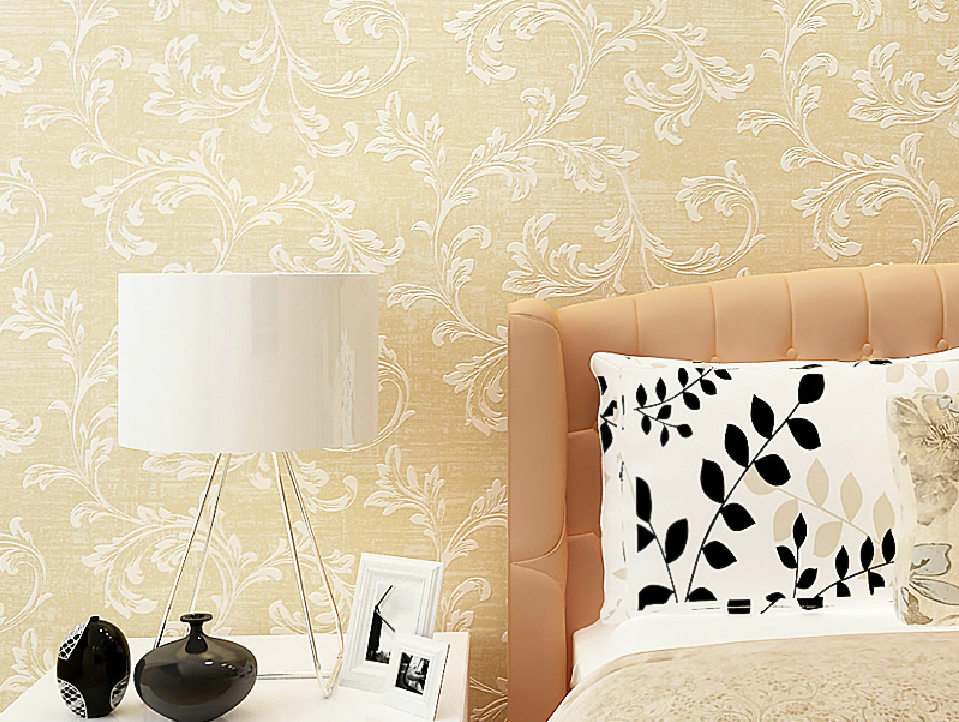 Embossed wallpaper bed back wall European style New Home 959x722
