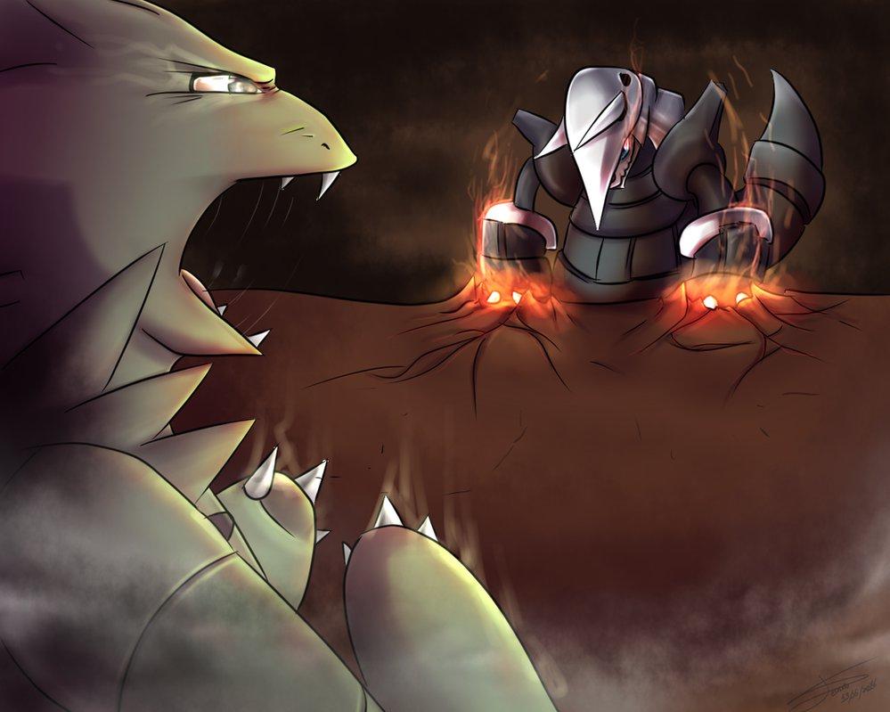 Aggron VS Tyranitar by DeanouV2 999x799