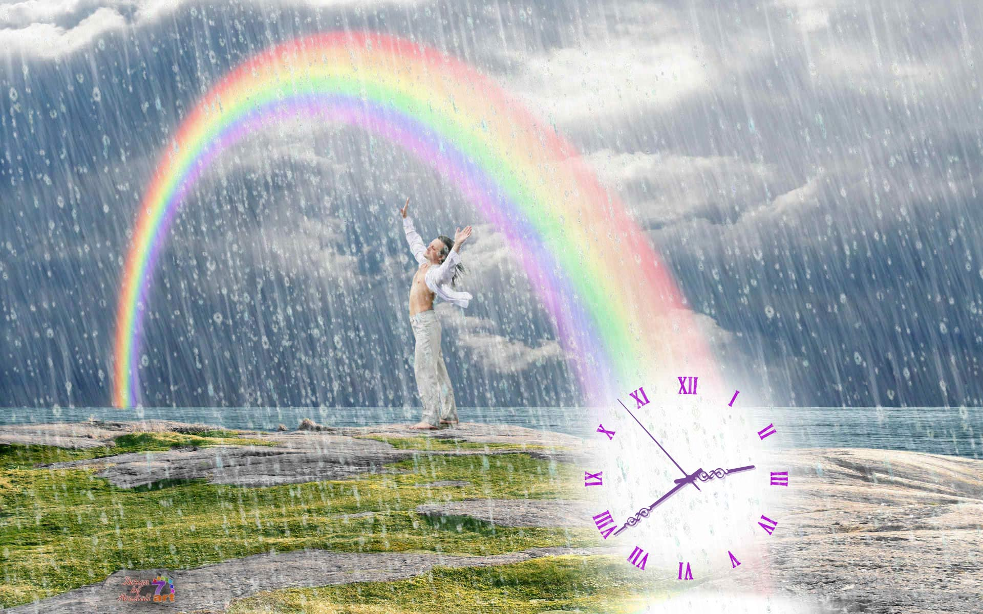 Summer Rain Clock screensaver   Summer Rain Clock keeps count while 1920x1200