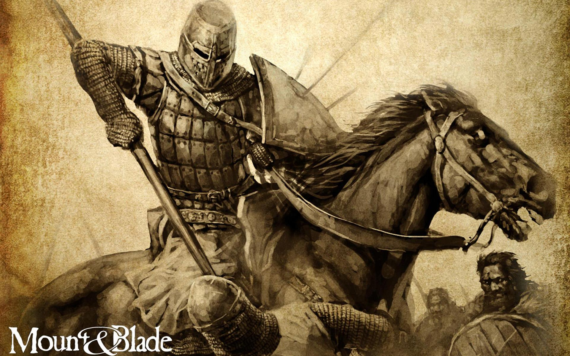 MOUNT AND BLADE fantasy warrior armor knight battle horse poster f 1920x1200