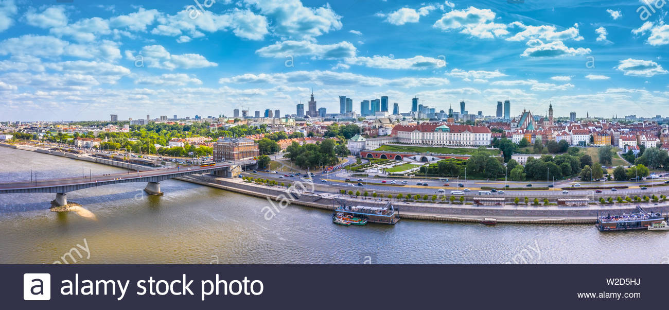 City skyline background Aerial view of Warsaw capital city of 1300x602