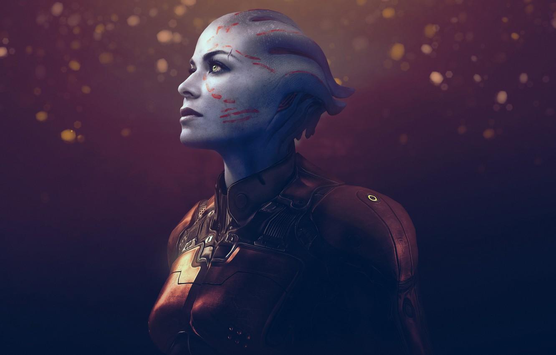Wallpaper look face fiction alien mass effect bioware asari 1332x850