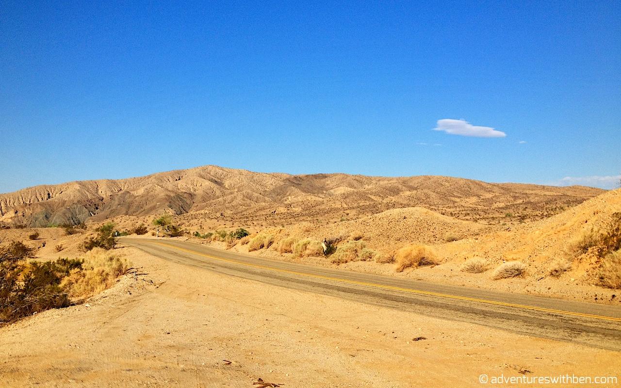 riding through the oranges and tans of desolate California Desert 1280x800