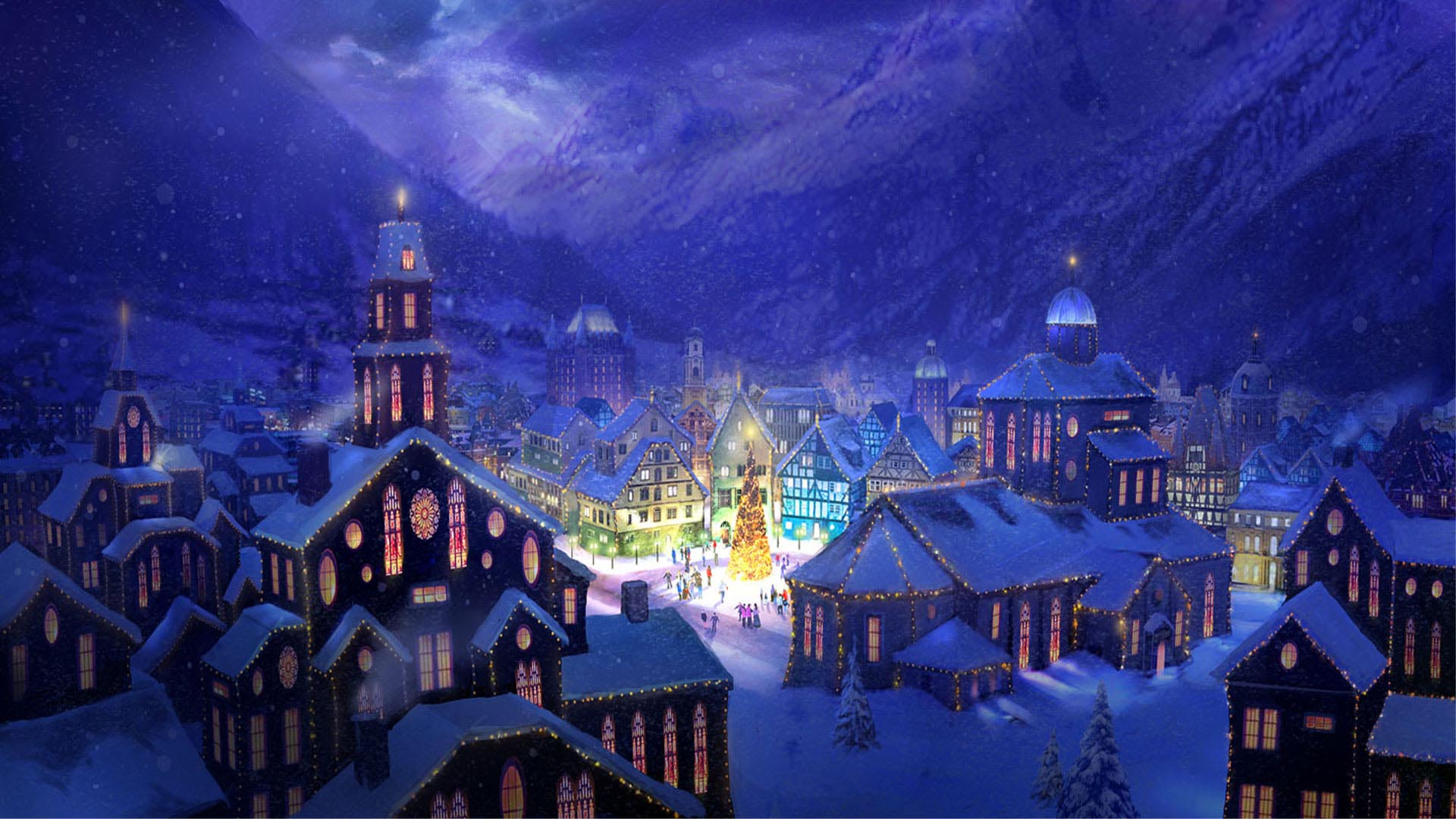 Pics Photos   Wallpaper Christmas Village Scene 2013 Hd 1920x1080