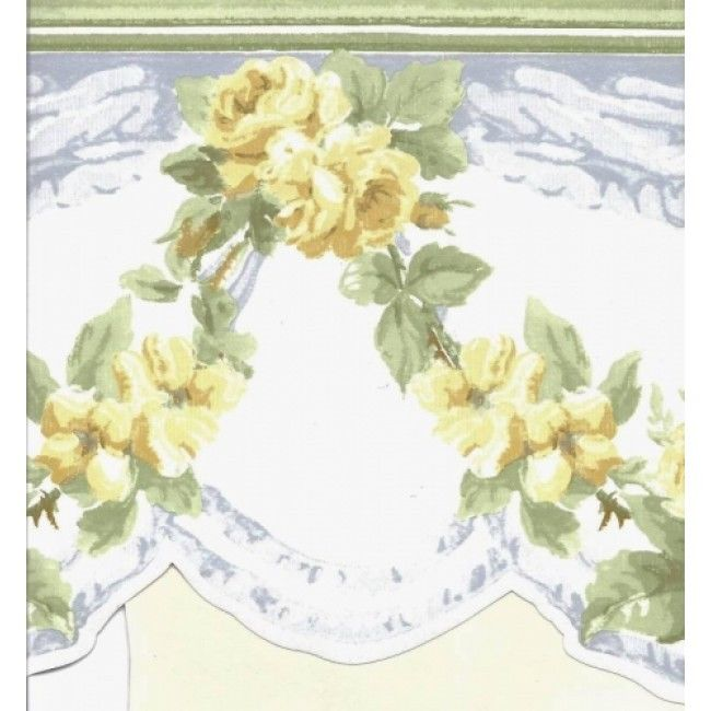 Sale 23 Feet of Yellow Roses with Blue Swag Wallpaper Border CH77637DC 650x650