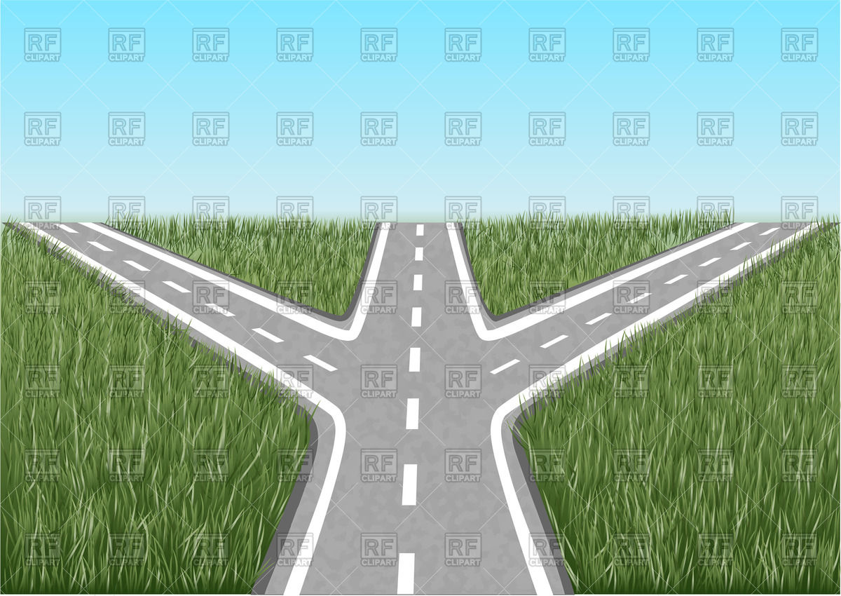 Crossroads with grass and blue sky Objects download Royalty free 1200x850