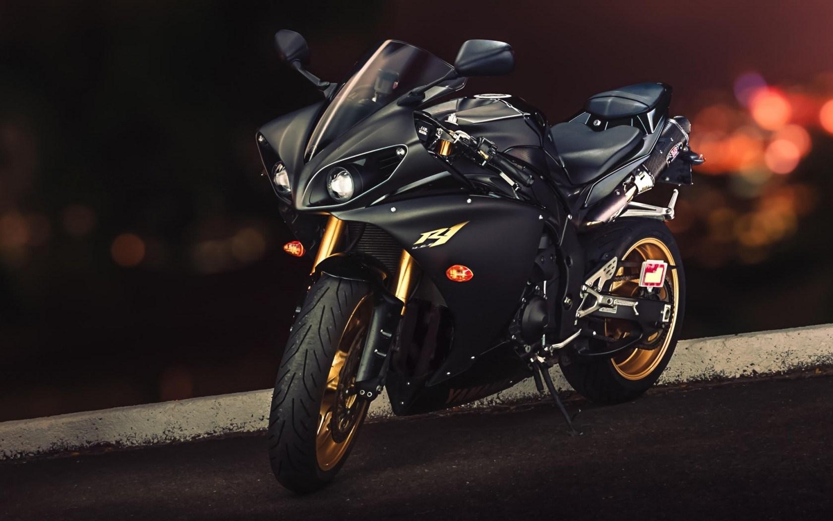 yamaha yzf r1 motorcycle road black photo sport widescreen 1680x1050