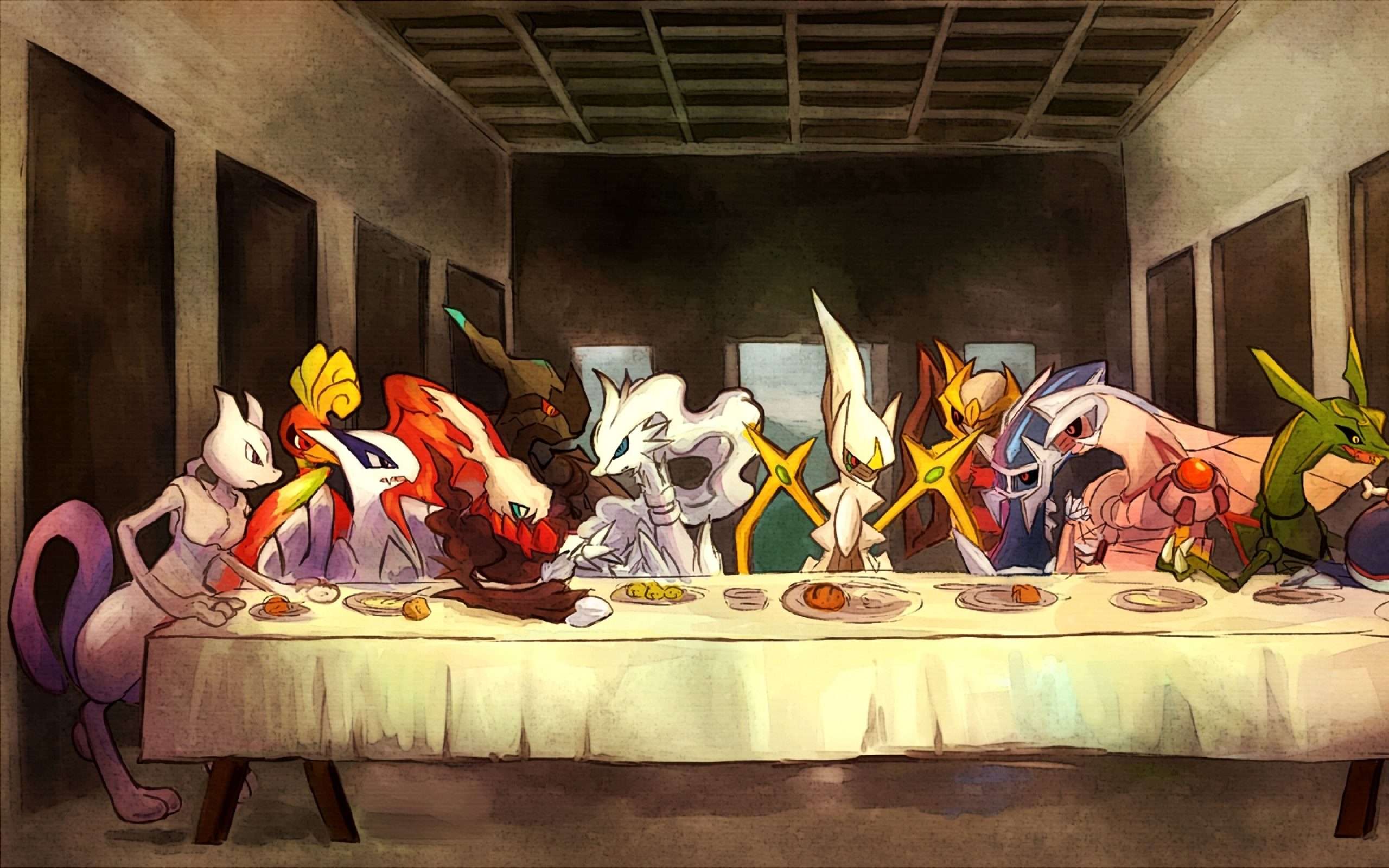last supper parody crossovers 1955x1000 wallpaper Wallpaper 2560x1600