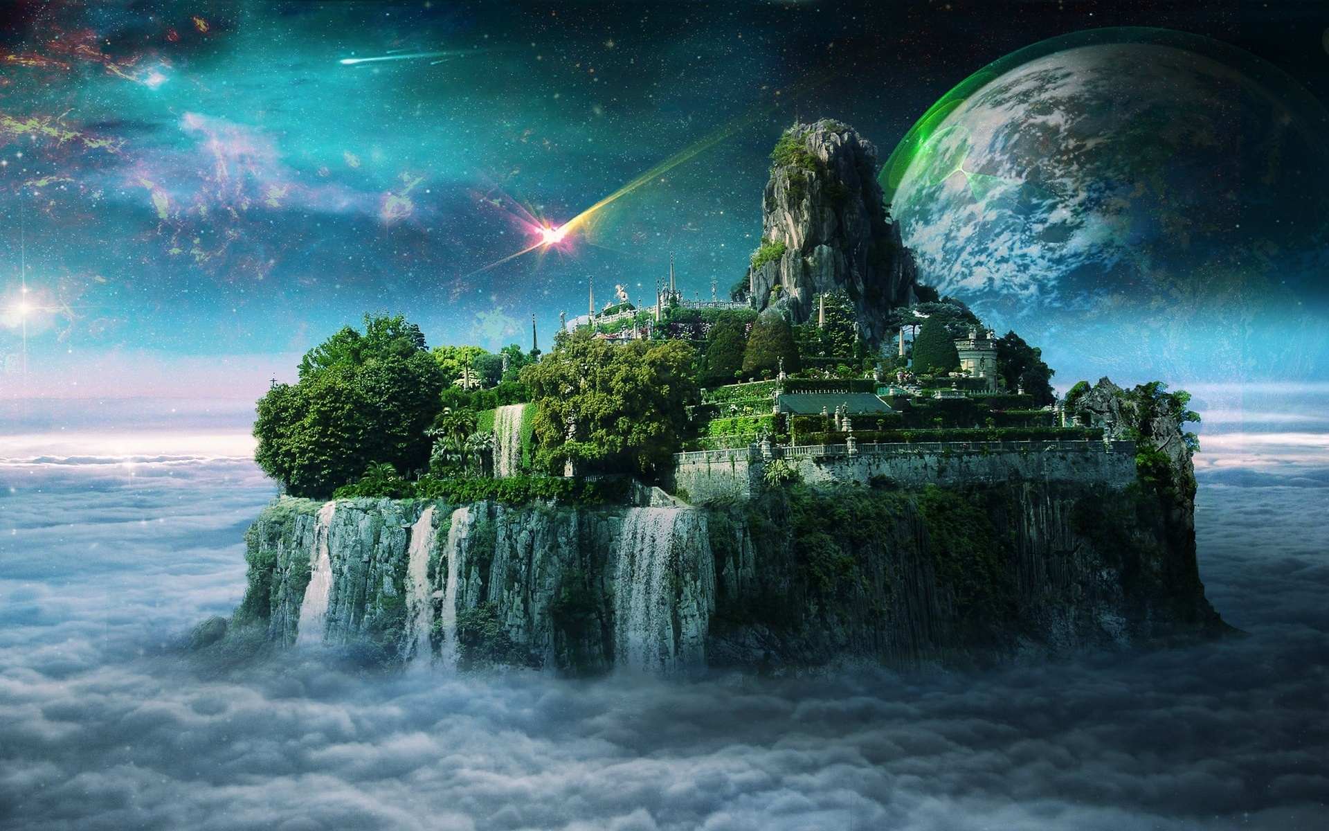 Magic Island Planet Clouds Sky wallpapers Magic Island Planet Clouds 1920x1200