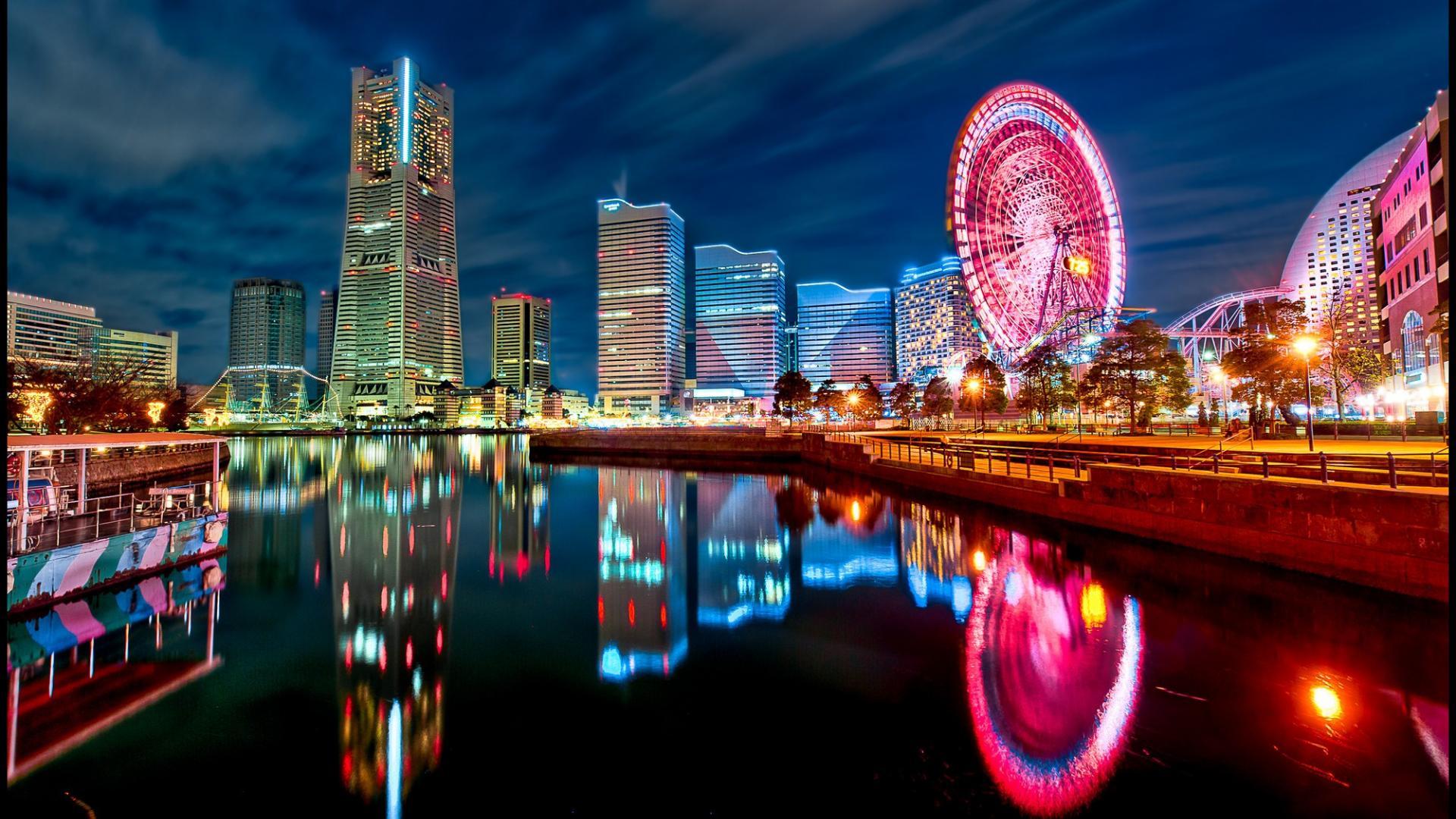 Japan tokyo cityscapes yokohama city lights bay wallpaper 16155 1920x1080