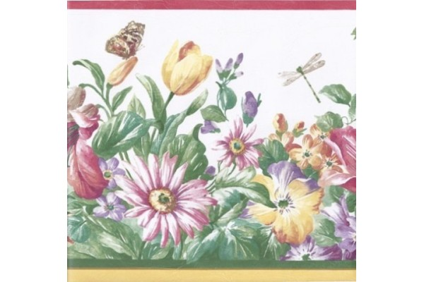 Home Red Cream Flower Garden Wallpaper Border 600x400
