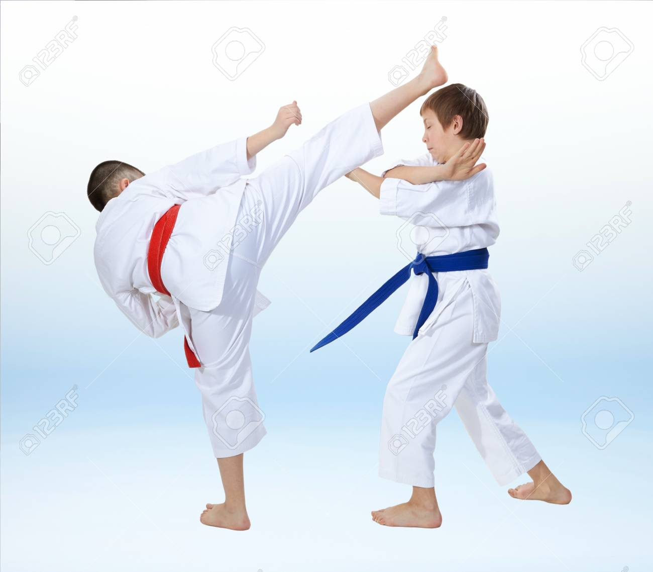 Children Are Training Karate Techniques On A Light Background 1300x1138