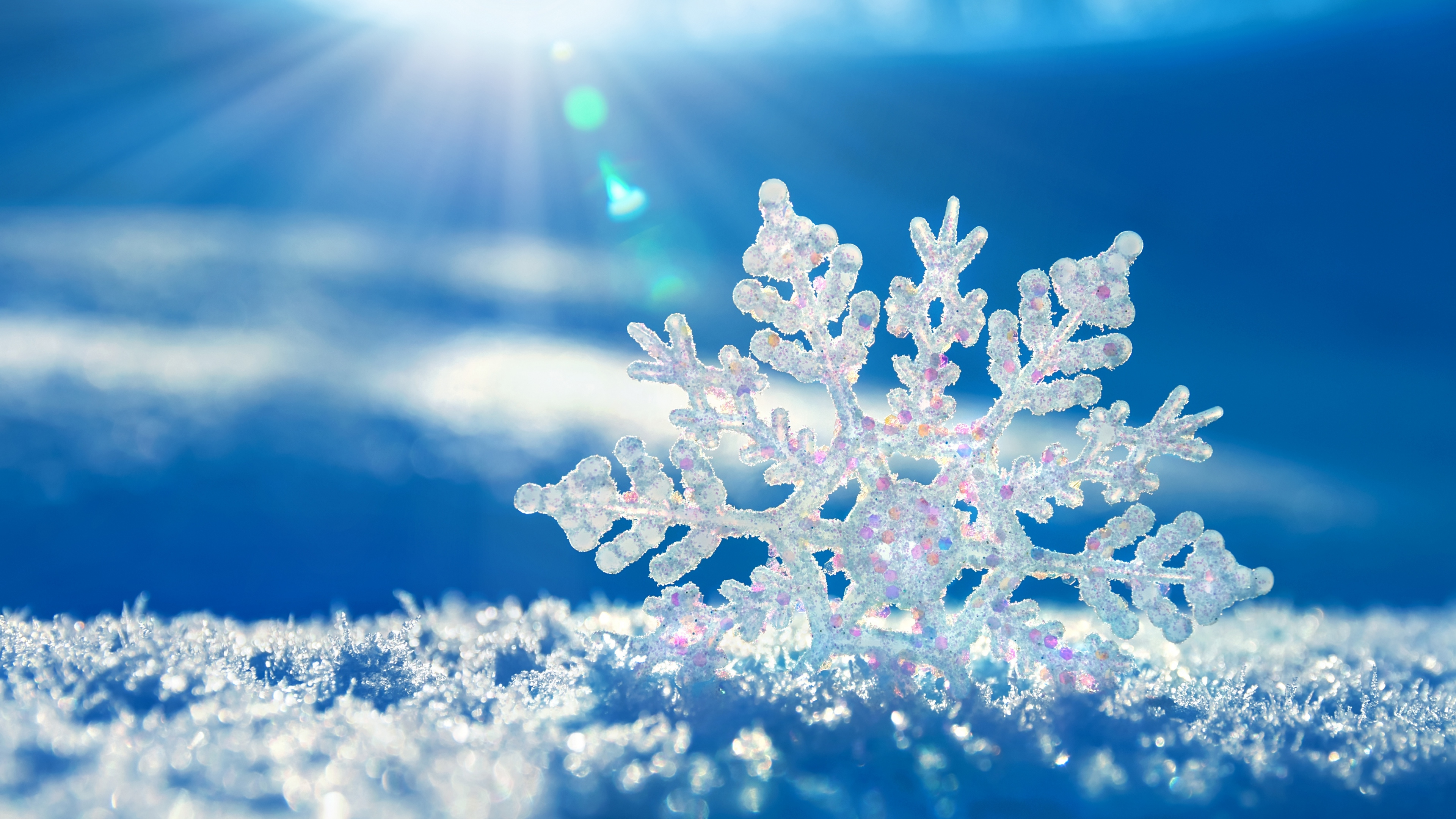 Download Wallpaper 3840x2160 Snow Snowflake Winter 4K Ultra HD HD 3840x2160