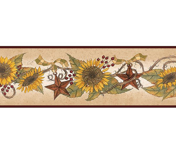 Linda Spivey Sunflower Garland Wallpaper Border 600x525