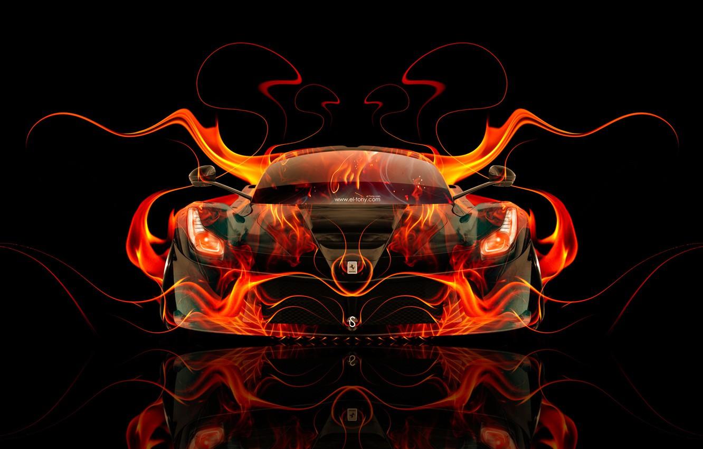 Wallpaper Auto Black Fire Machine Orange Ferrari Style 1332x850