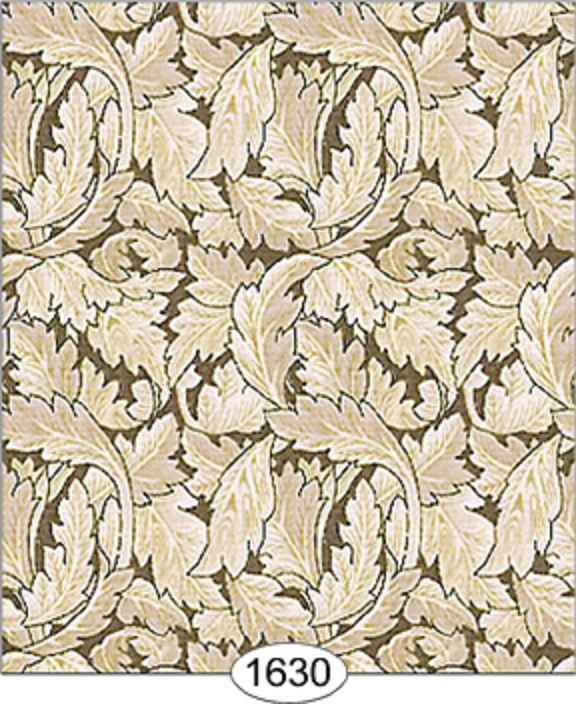 Dollhouse Miniature Wallpaper Victorian Leaves in Brown and Beige 576x704