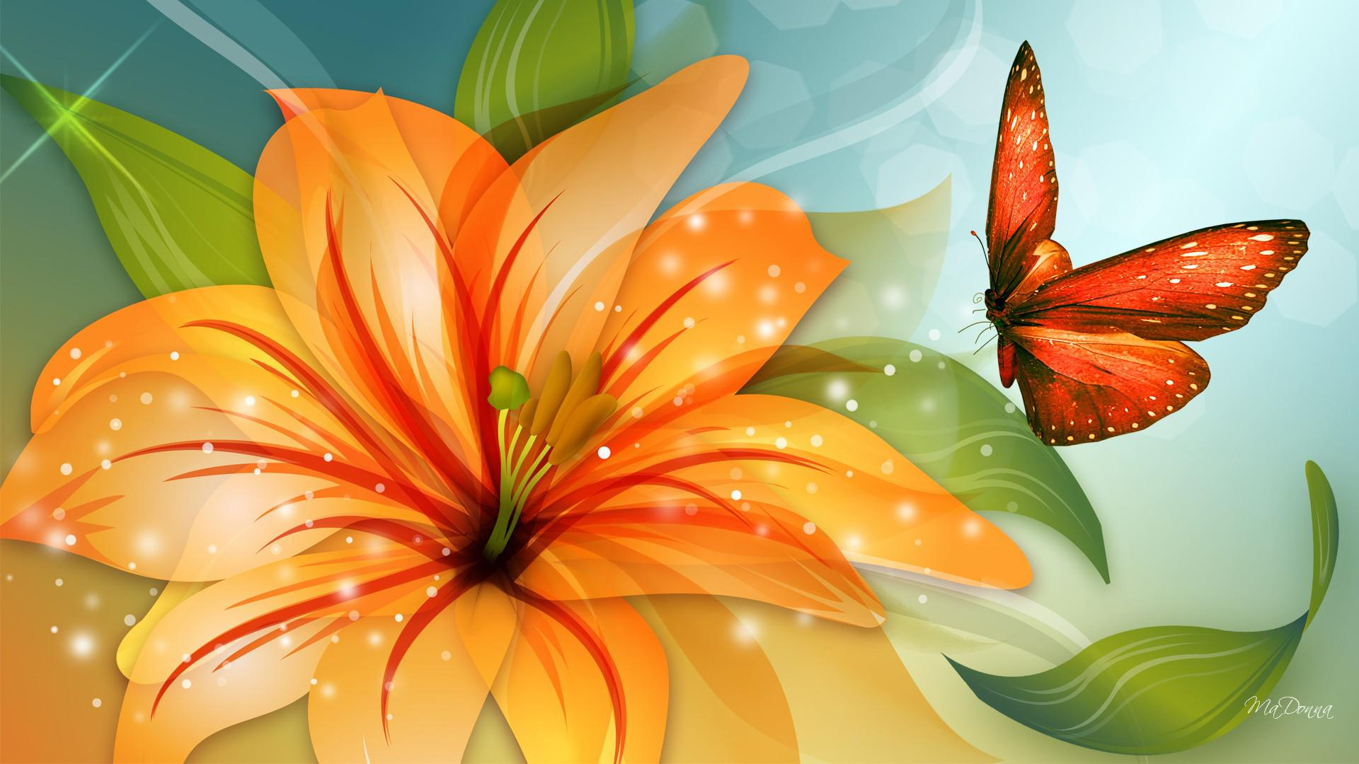 Tiger lily and butterfly HQ WALLPAPER   135669 1920x1080