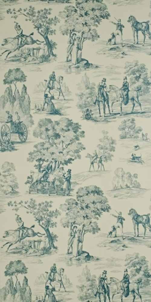Fox Hunting Wallpaper Alexander InteriorsDesigner Fabric Wallpaper 500x1000
