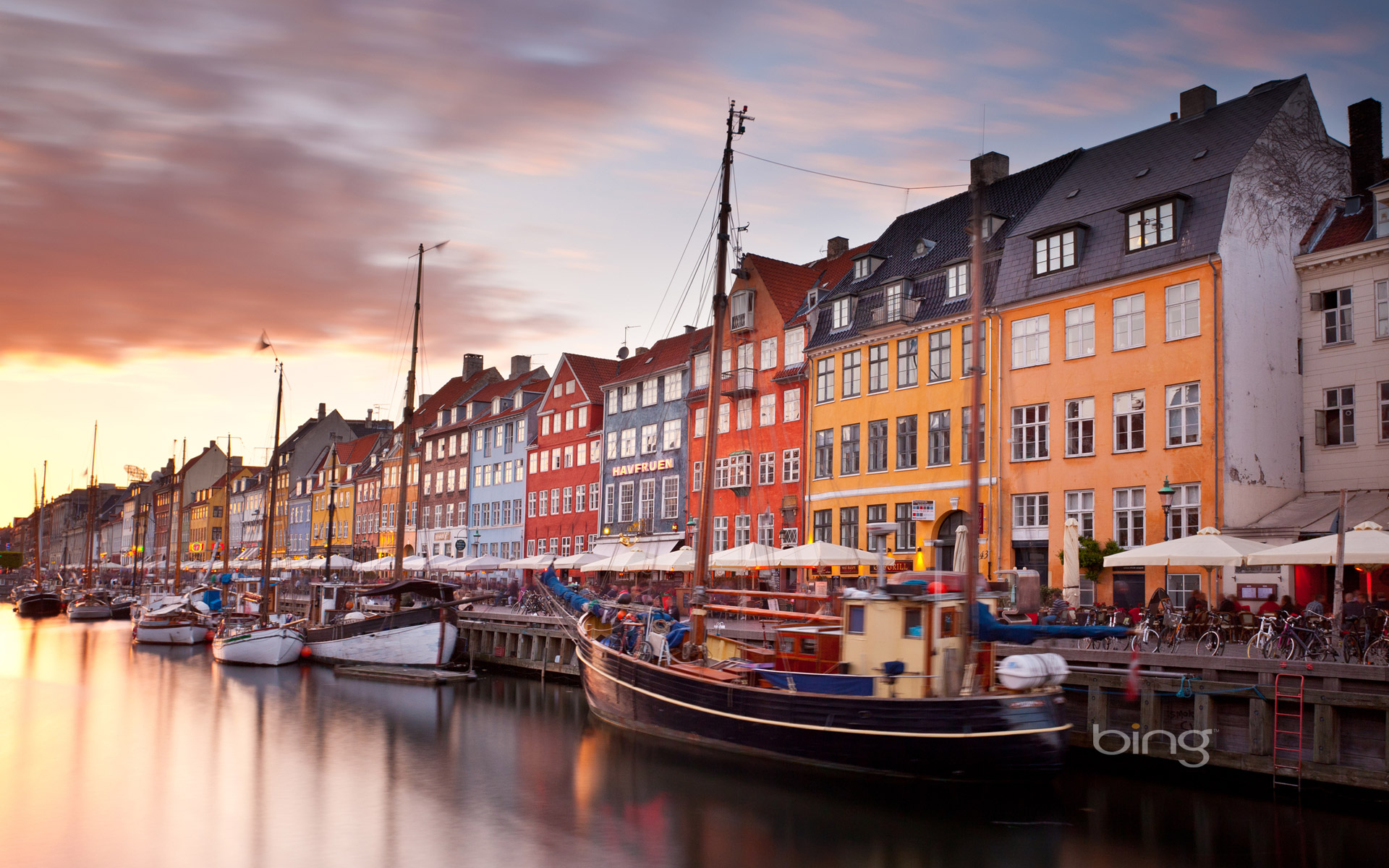 Colorful houses line Nyhavn canal in Copenhagen Denmark 1920x1200