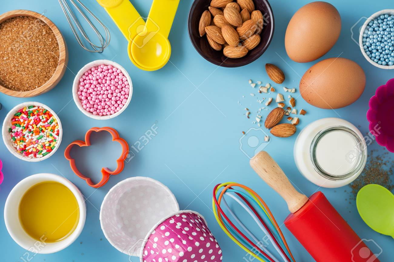 Baking Background With Ingredients And Cake Decor And Kitchen 1300x866
