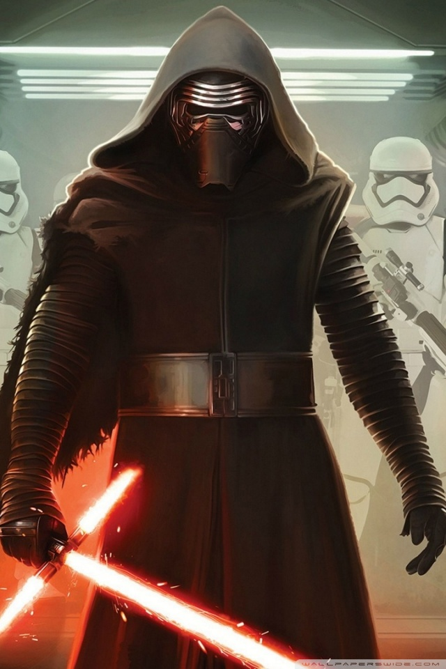 Kylo Ren and First Order Stormtroopers HD desktop wallpaper 640x960
