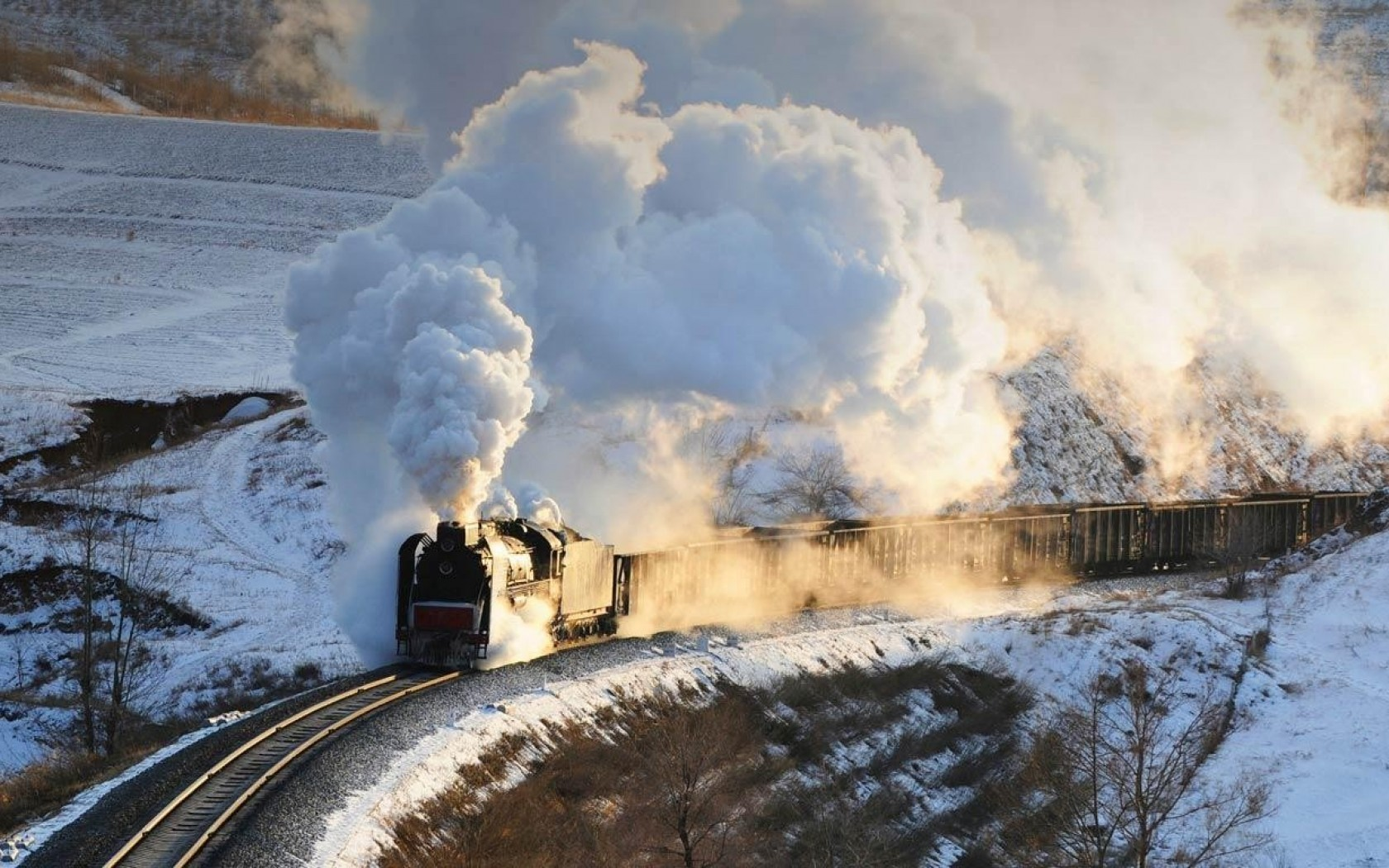 SuperHDpics Bing China Steam train smoke snow desktop bakcgrounds 1680x1050