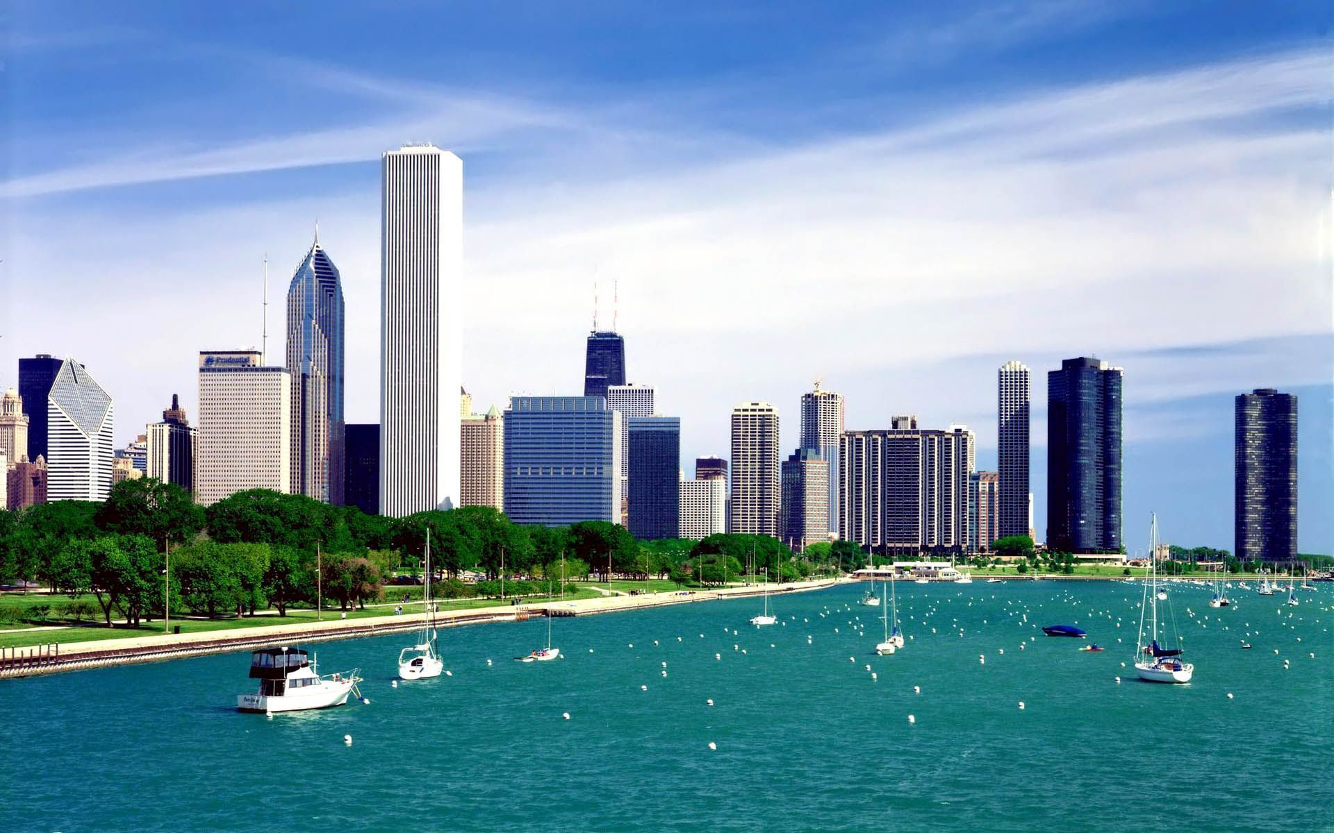 Buildings City Chicago Illinois Lake Michigan 1920x1200