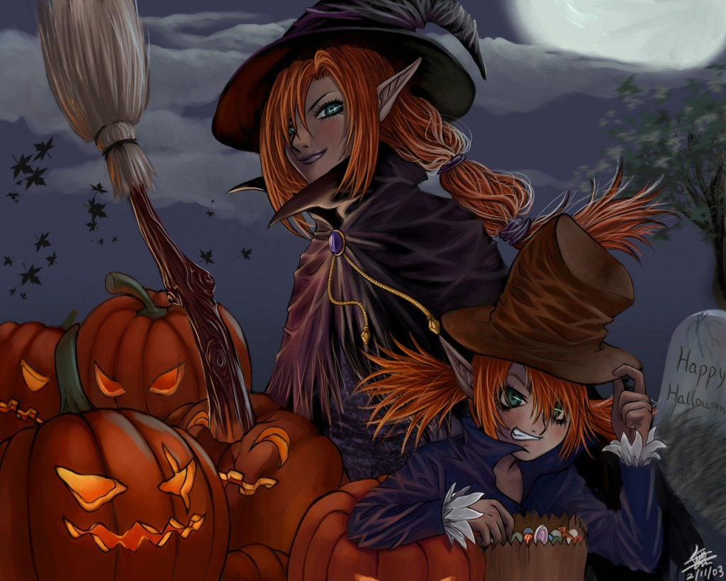 1024x768 Halloween witches desktop PC and Mac wallpaper 1024x819