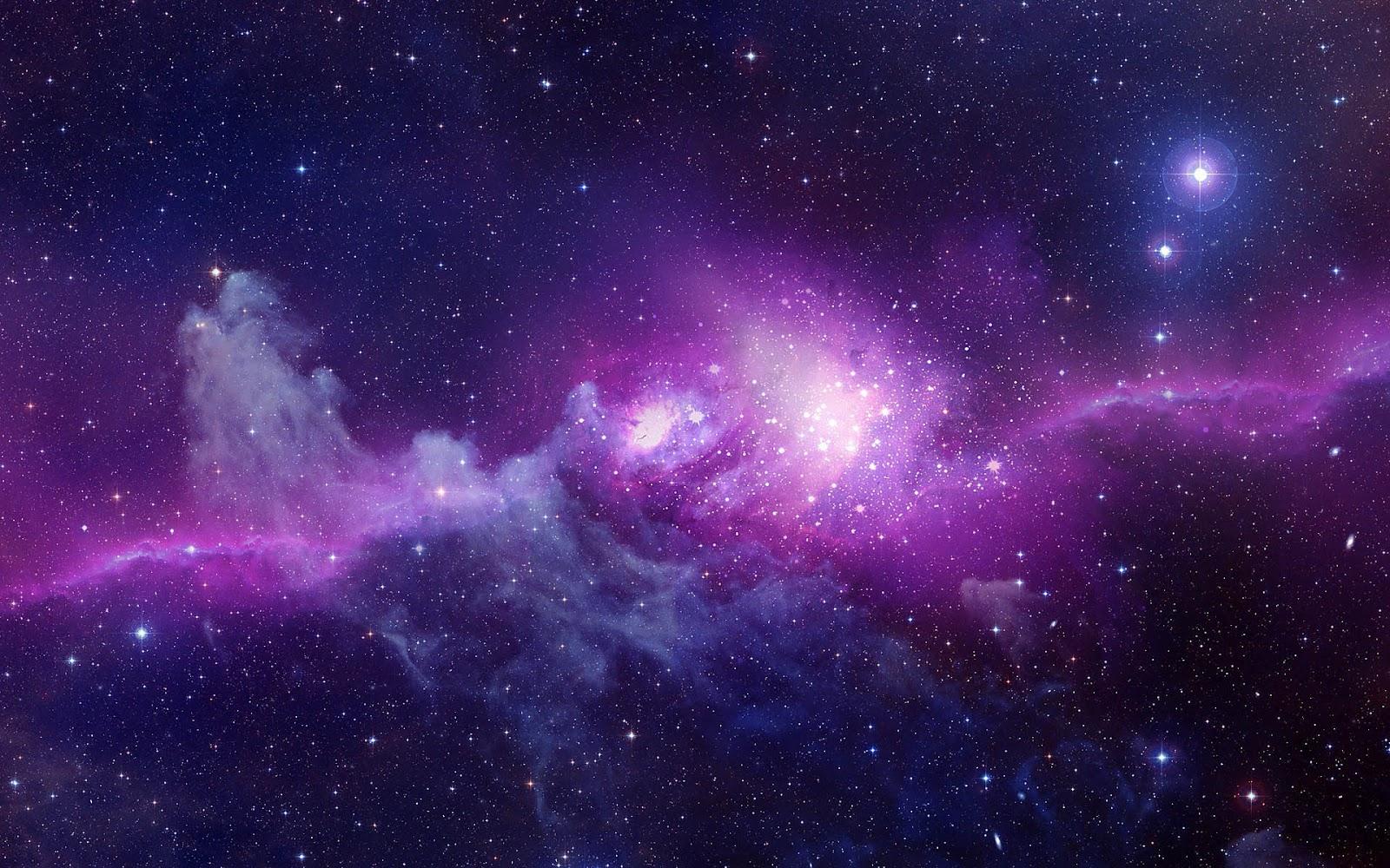 Desktop wallpaper met paarse nebula in het heelal 1600x1000