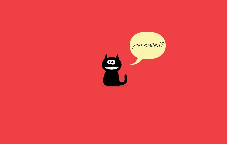 Wallpaper cat red smile black cat smile leader images for 1332x850