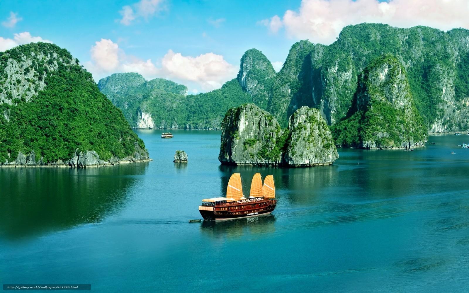 wallpaper Vietnam coast Ha Long Bay walking junk desktop 1600x1000