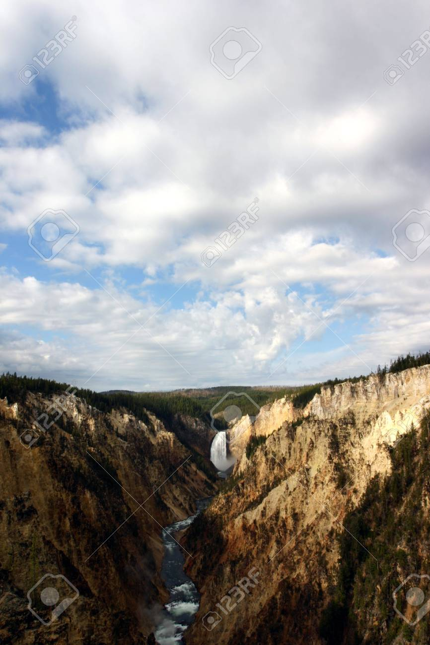 Yellowstone Falls And River Background Stock Photo Picture And 866x1300
