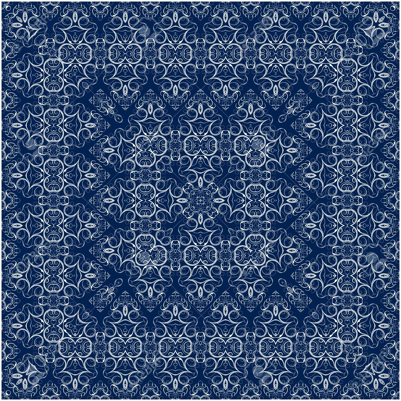 Square White Pattern On A Blue Background Decorative Ornament 1299x1300