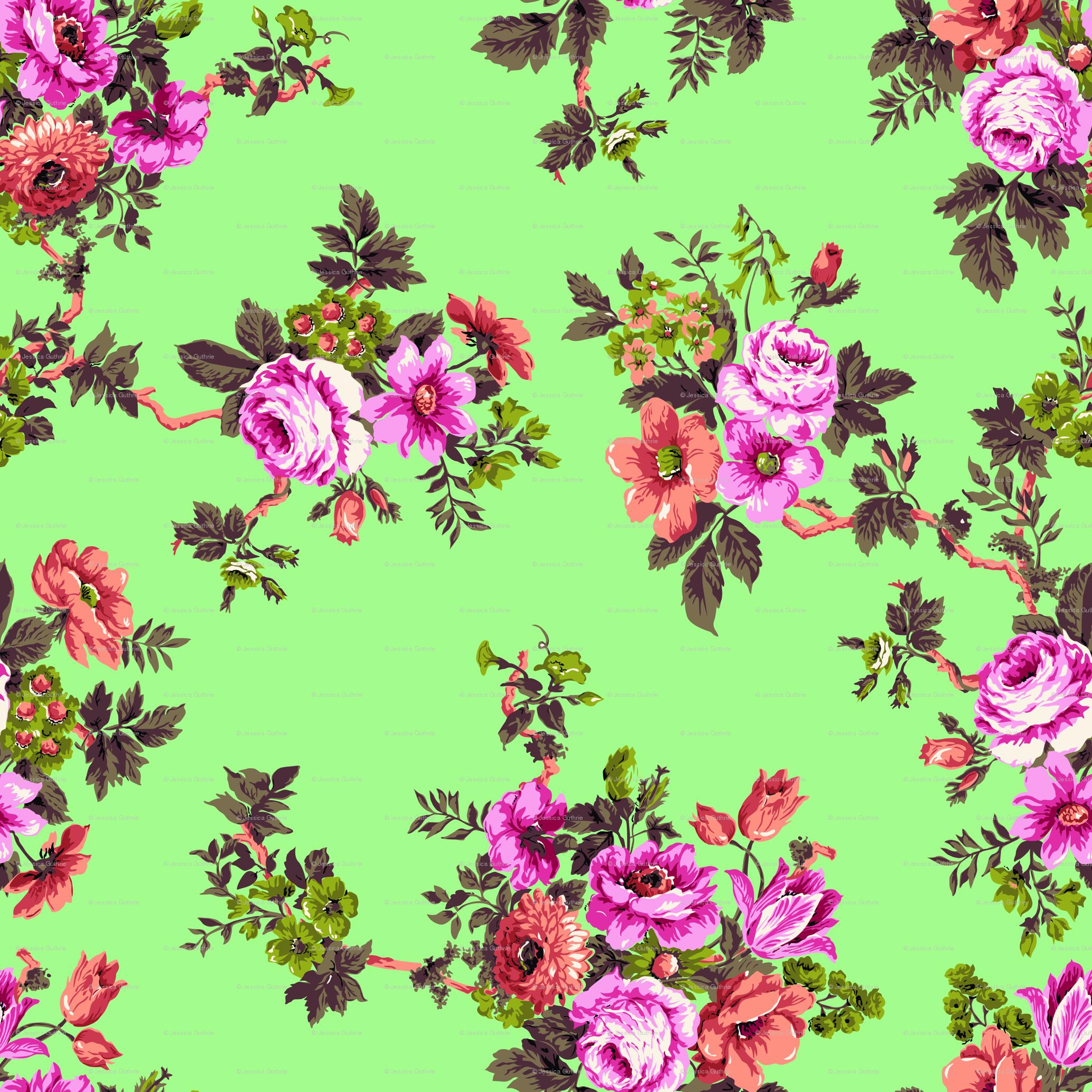 Download Vintage Floral Print Desktop Wallpaper Japanese Floral