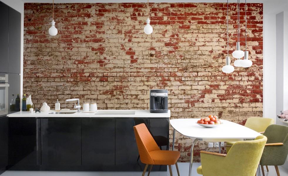 Corporate office industrial brick effect wallpaper