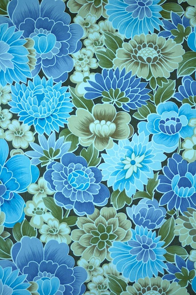 Vintage Blue Floral Wallpaper 683x1024