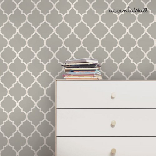 Moroccan Grey Peel and Stick Fabric Wallpaper Repositionable 500x500