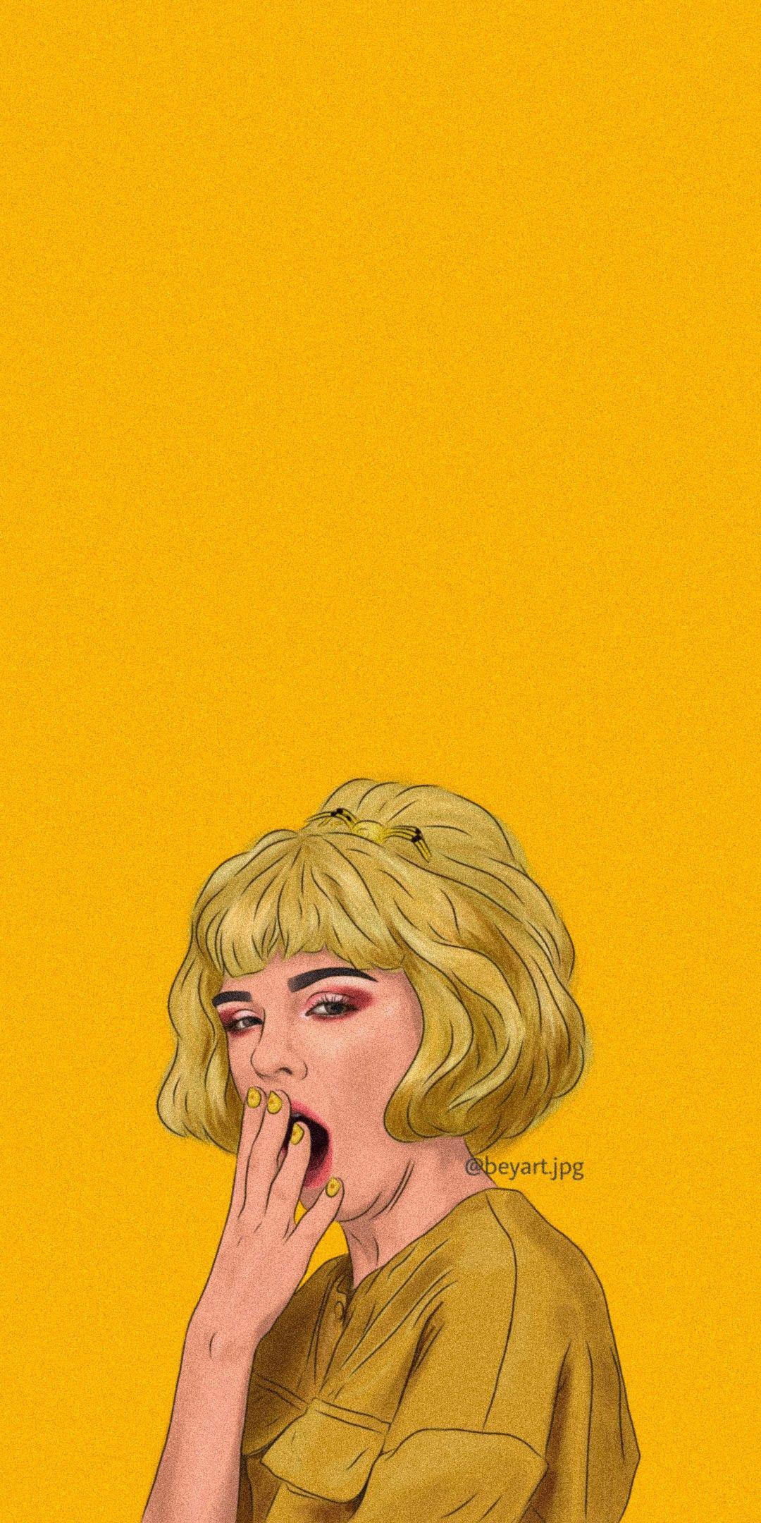 follow my ig wallpaper mood yellow Lukisan wajah Ilustrasi 1080x2160