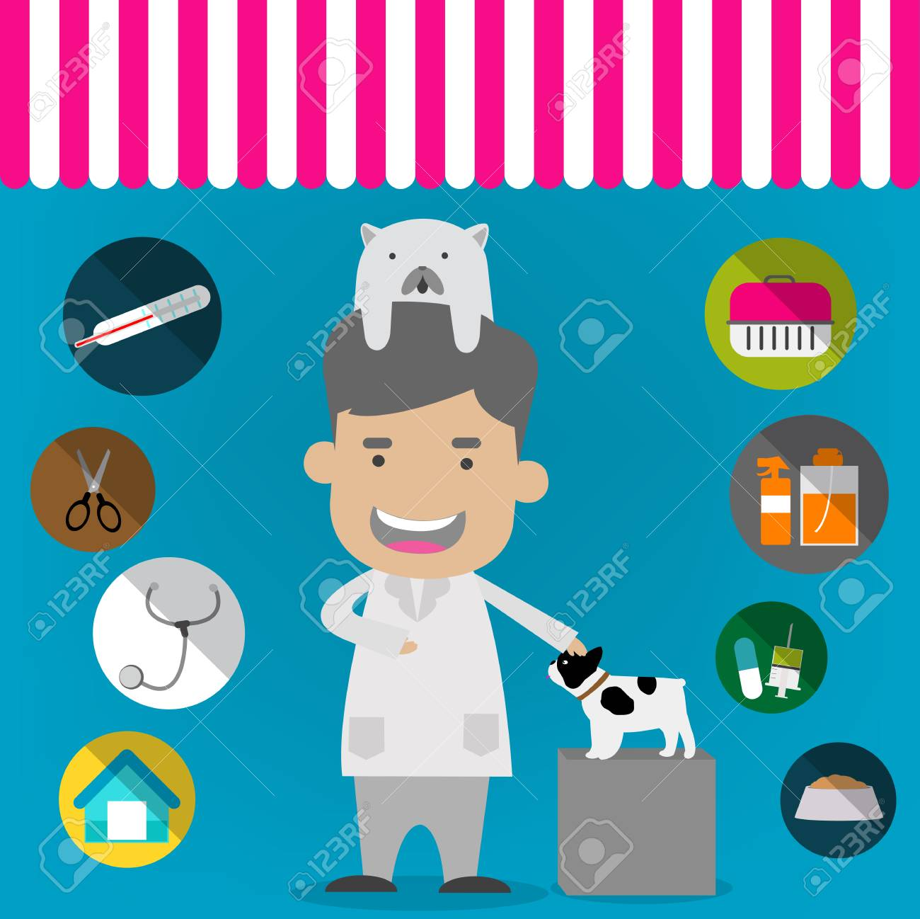 Veterinary Flat Icon Set Veterinary Banner Background Poster 1300x1298