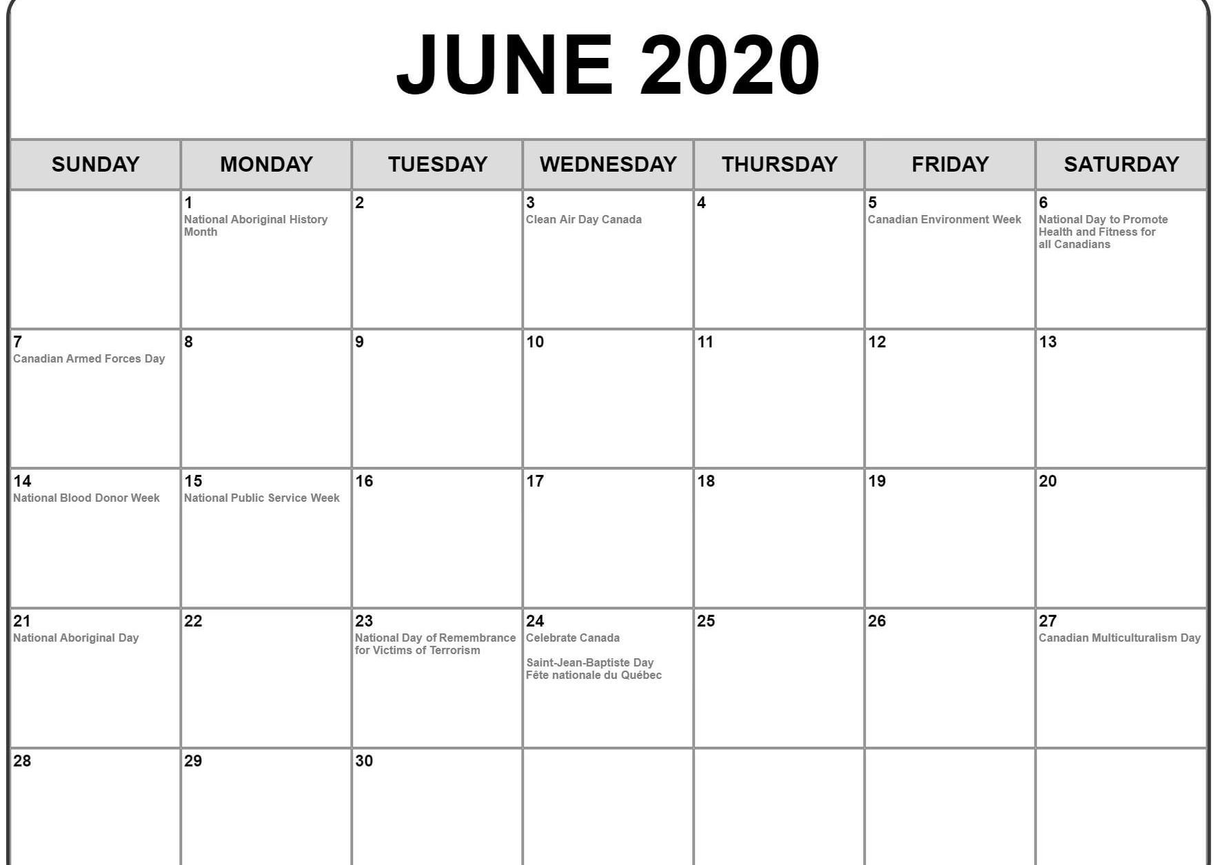 June 2020 Calendar with Holidays Monthly calendar template 1767x1255