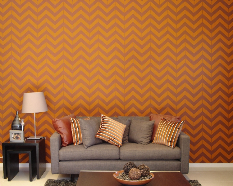 Pre spaced Chevron design on an easy to apply wallpaper style sheet 750x600