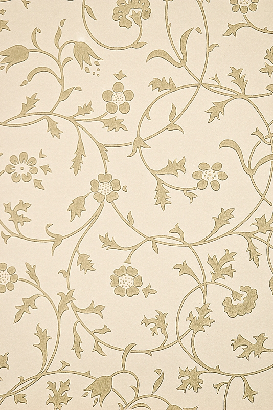 Medway Wallpaper Floral scroll design wallpaper Gold on Cream 534x801