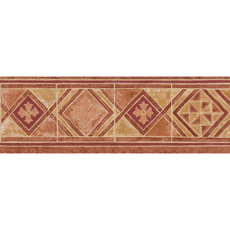 Red Mid Tone Moroccan Tile Prepasted Wallpaper Border at Lowescom 900x900