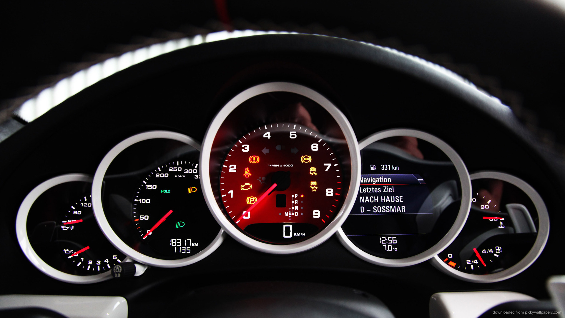 1366x768 KTW Porsche Carrera S 991 Control Panel Wallpaper 1920x1080