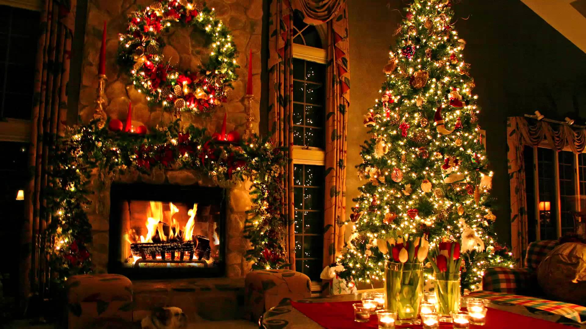 Christmas tree and fireplace   Clip Art Library 1920x1080