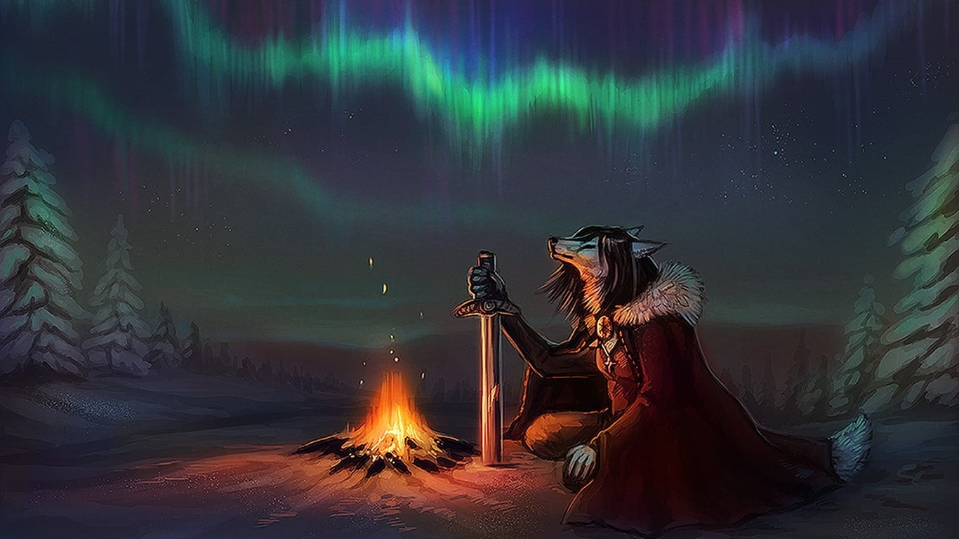 Anthropomorphic wolf in front of bonfire wallpaper furry Anthro 1366x768