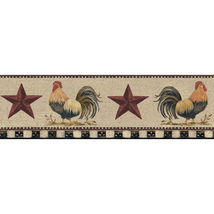 Rooster and Barn Star Wallpaper Border YC3401BD chicken country 700x700
