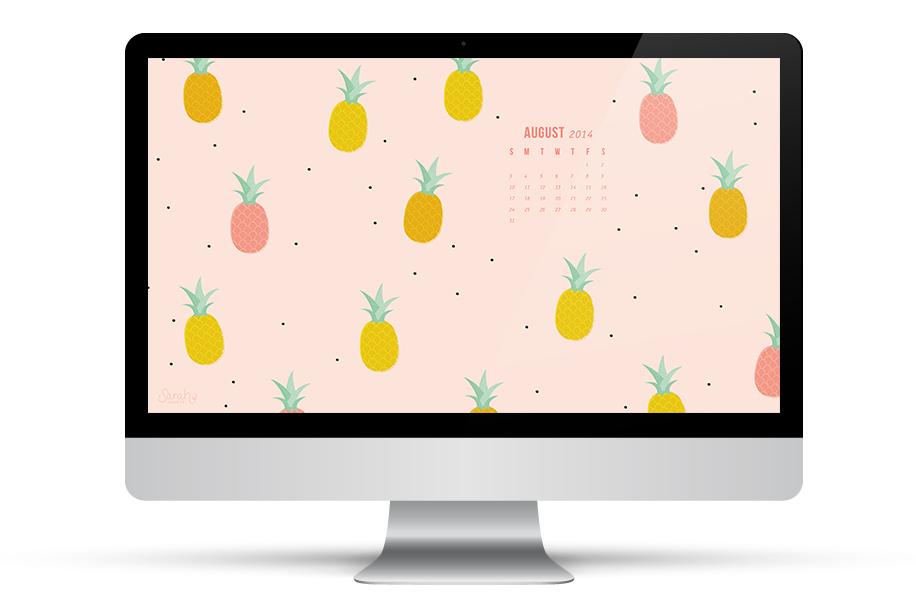 Sarah Hearts   August 2014 Pineapple Calendar Wallpaper 916x610